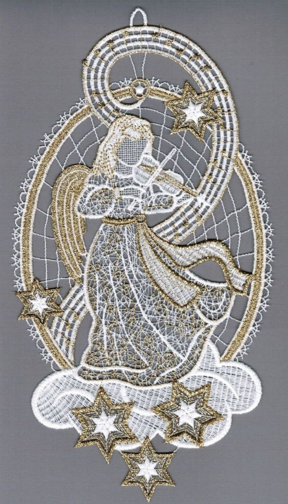 Embroidered Lace Golden Angel with Violin Window Picture
